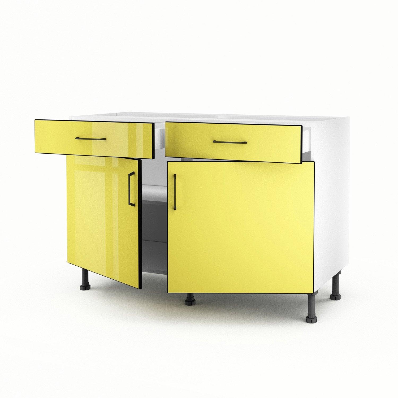 meuble de cuisine bas jaune 2 portes 2 tiroirs pop x x cm leroy merlin. Black Bedroom Furniture Sets. Home Design Ideas