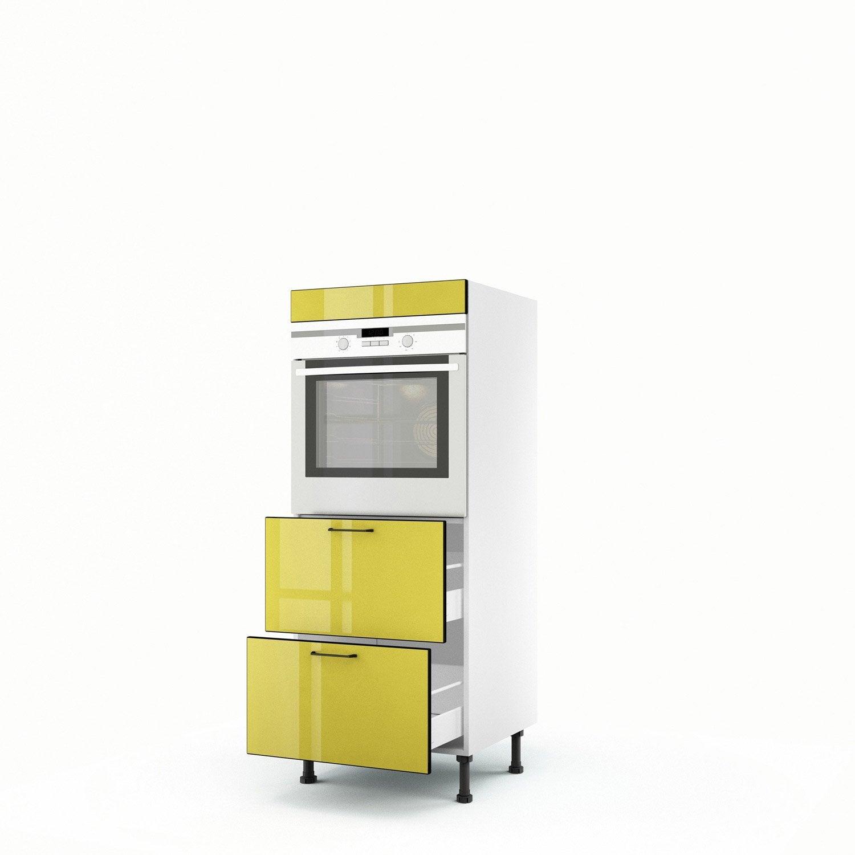 Meuble de cuisine demi colonne jaune four 2 tiroirs pop - Meuble demi colonne cuisine ...