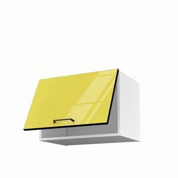 Meuble de cuisine haut sur hotte jaune 1 porte Pop H.42 x l.60 x P.35 cm