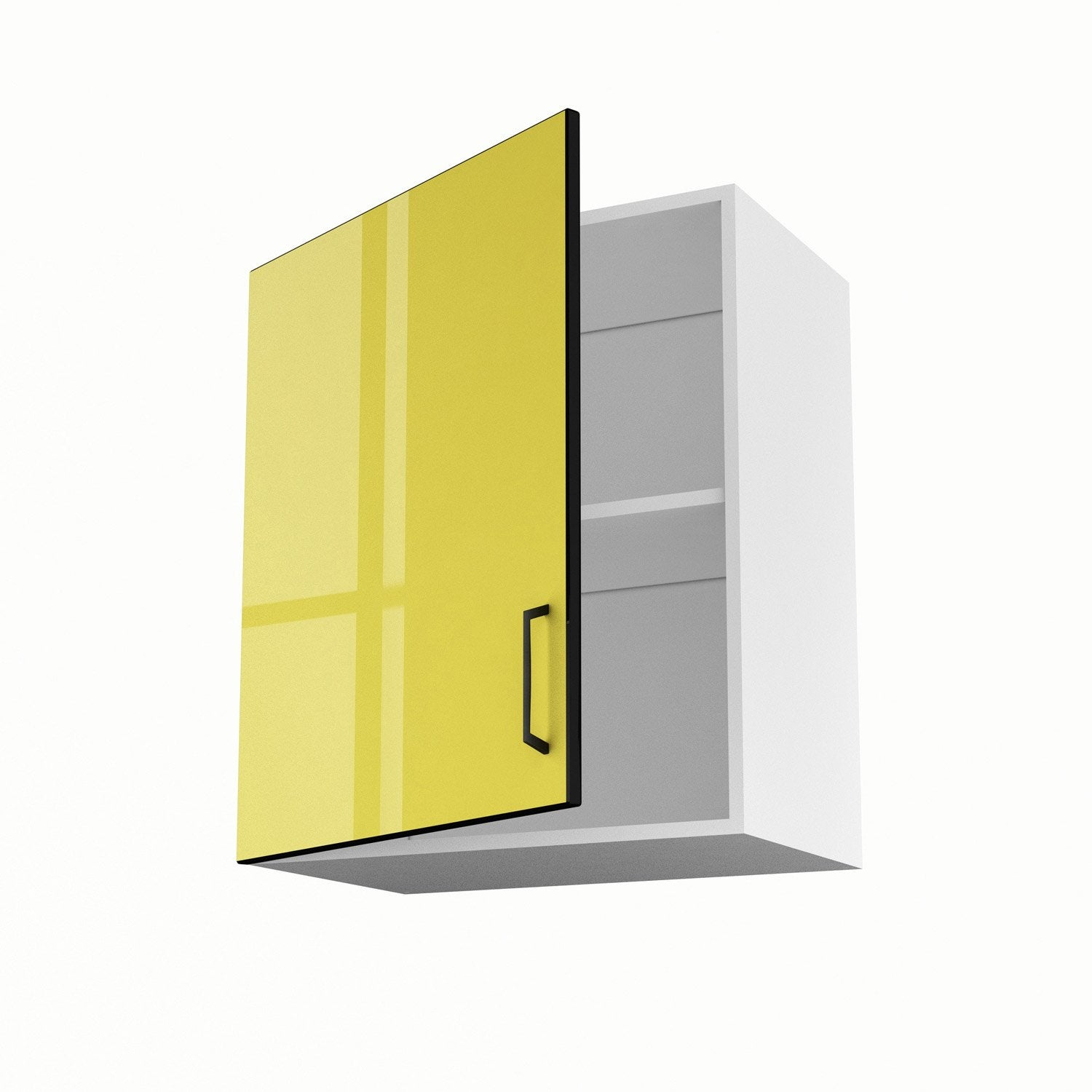 Meuble de cuisine haut jaune 1 porte pop h70xl60xp35 cm for Portes elements cuisine leroy merlin