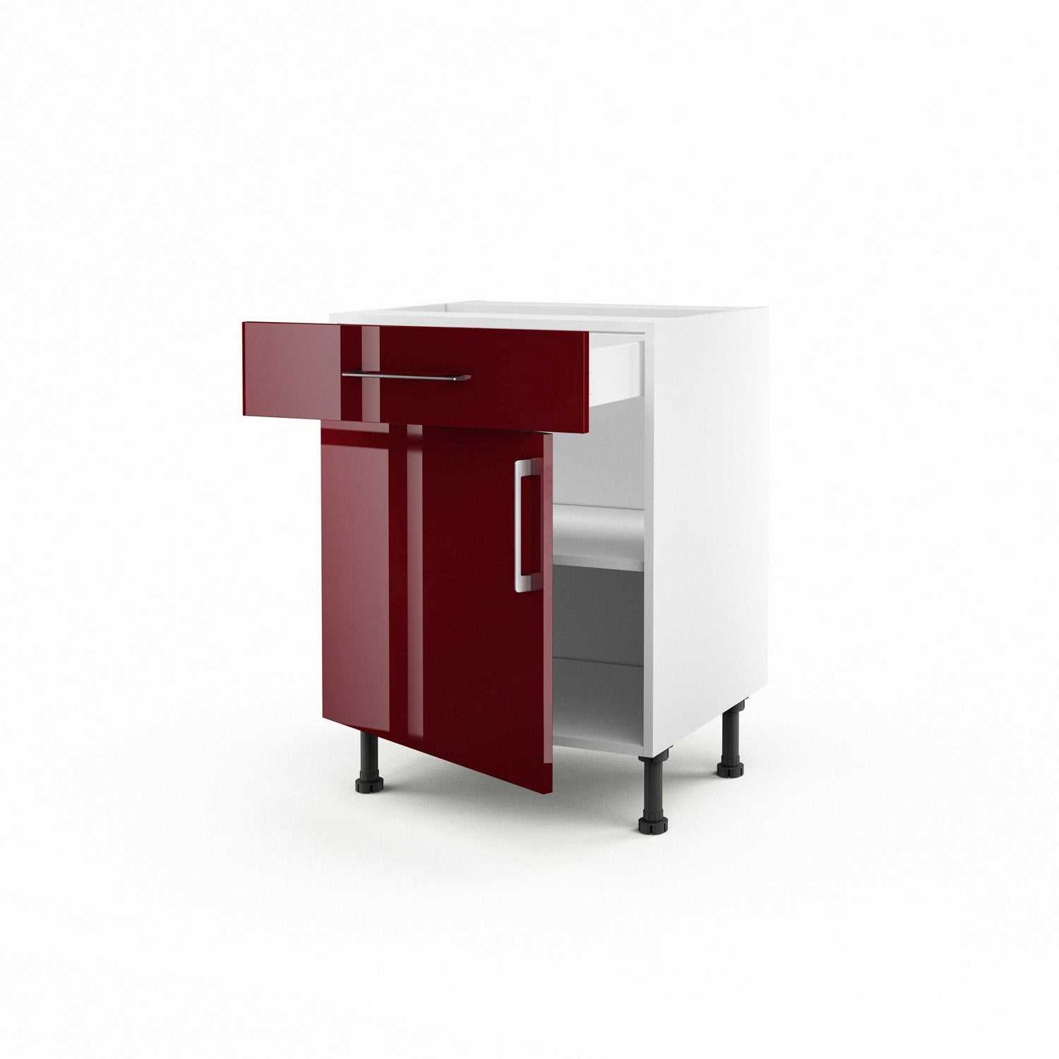 Meuble de cuisine bas rouge 1 porte 1 tiroir griotte h for Portes elements cuisine leroy merlin
