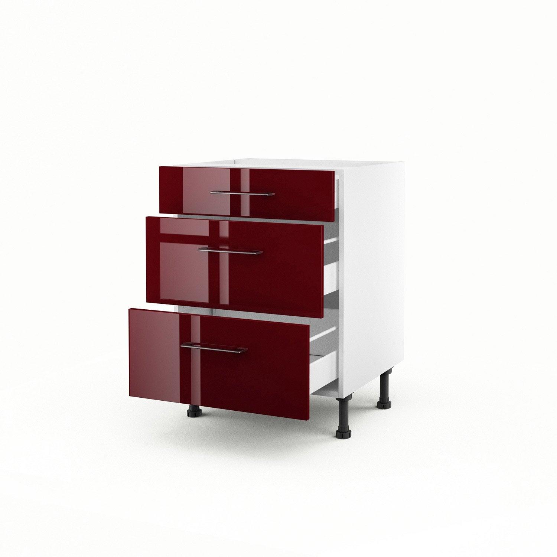 meuble de cuisine bas rouge 3 tiroirs griotte x. Black Bedroom Furniture Sets. Home Design Ideas