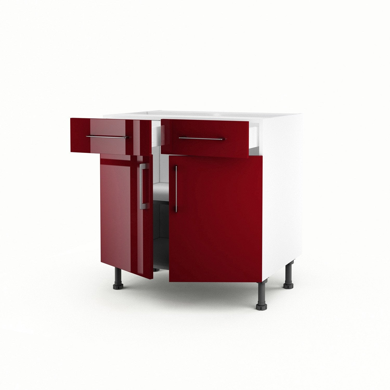 Meuble de cuisine bas rouge 2 portes 2 tiroirs griotte h for Meuble cuisine bas