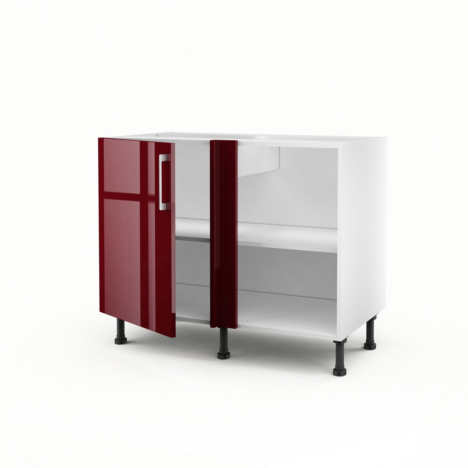 Meuble de cuisine bas dangle rouge 1 porte Griotte H70 x l100 x P
