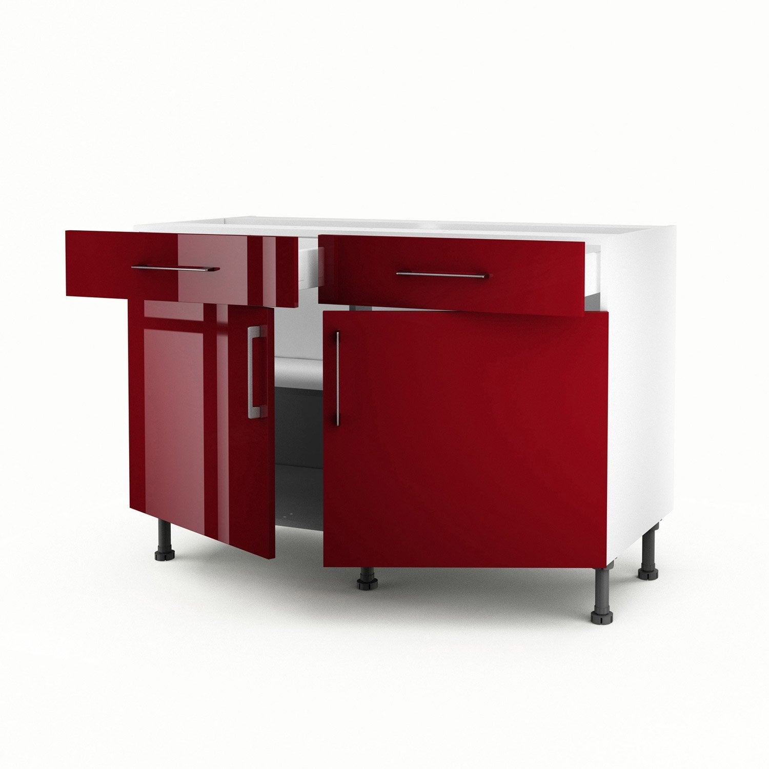 Meuble de cuisine bas rouge 2 portes 2 tiroirs griotte h for Portes elements cuisine leroy merlin
