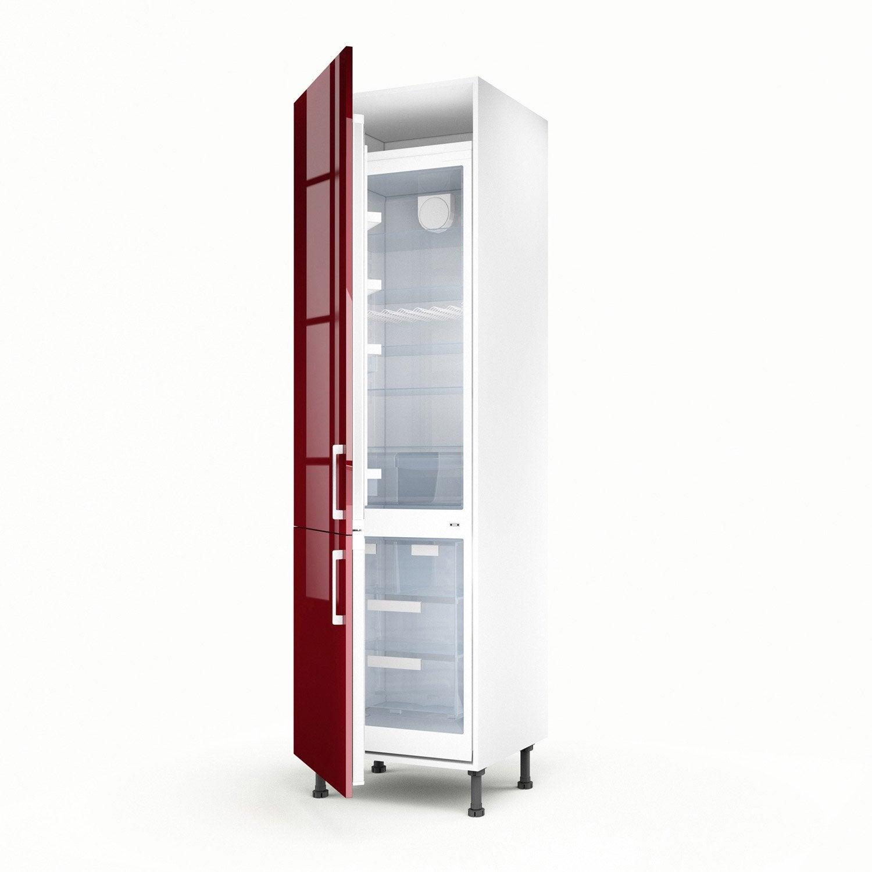 Meuble de cuisine colonne rouge 2 portes griotte x l for Porte de 60 cm