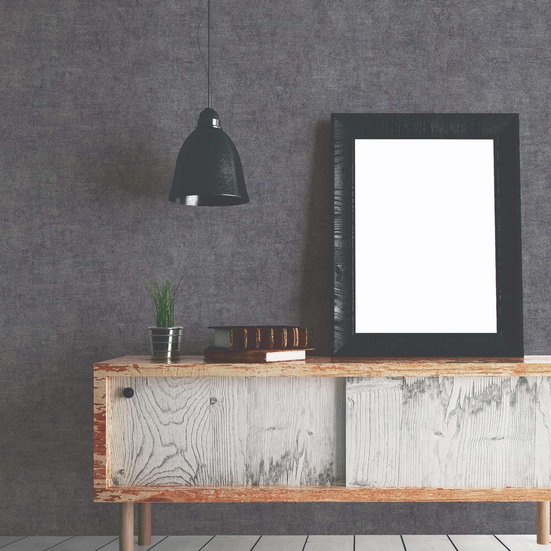 papier peint intiss uni glacier gris fonc leroy merlin. Black Bedroom Furniture Sets. Home Design Ideas