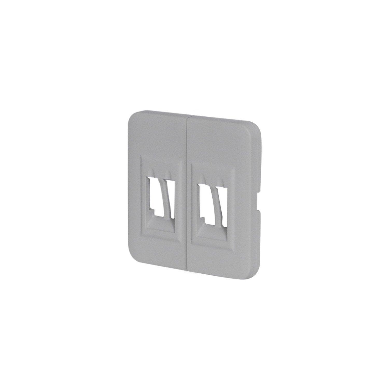 cache prise haut parleur double cosy lexman gris galet n. Black Bedroom Furniture Sets. Home Design Ideas