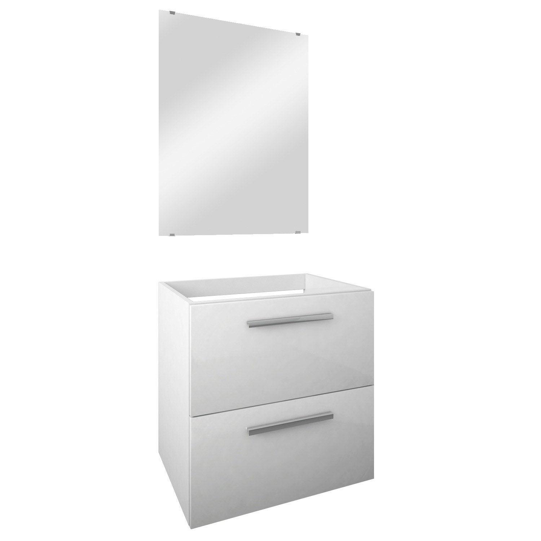 meuble de salle de bains dado 60cm vasque vendue s par ment miroir blanc leroy merlin. Black Bedroom Furniture Sets. Home Design Ideas