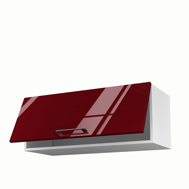 Meuble de cuisine haut rouge 1 porte griotte x x for Meuble 90 cm longueur