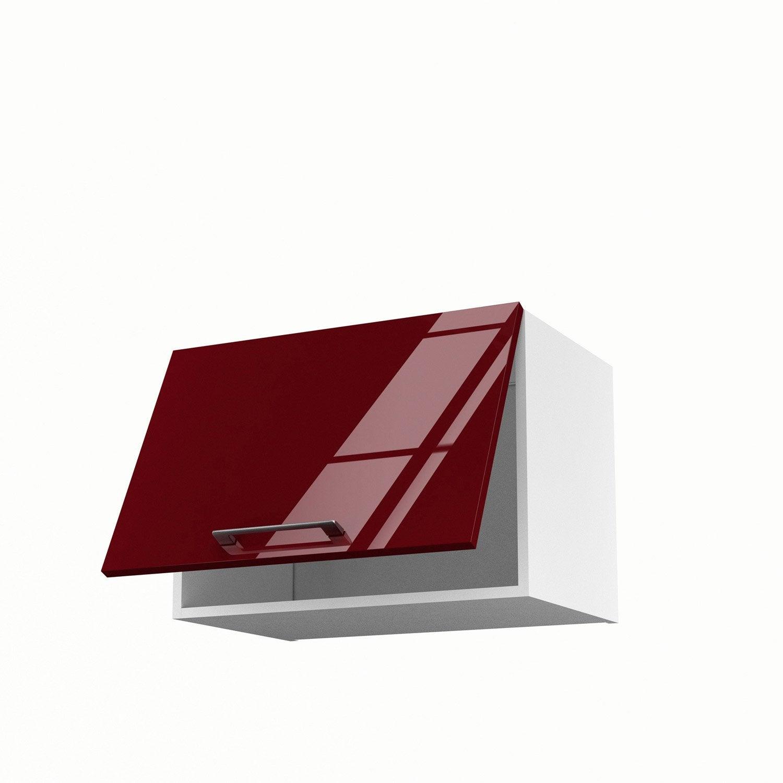 Meuble de cuisine haut sur hotte rouge 1 porte griotte h for Meuble cuisine haut