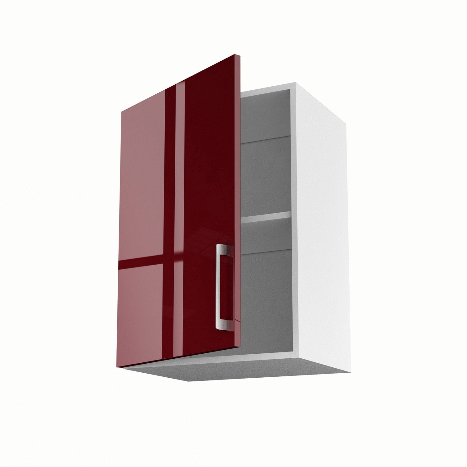 Meuble de cuisine haut rouge 1 porte griotte x x for Portes elements cuisine leroy merlin