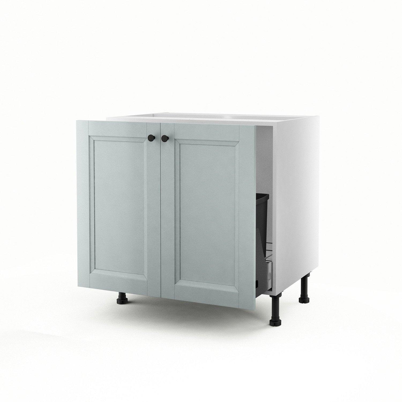 Meuble de cuisine sous vier bleu 2 portes ashford - Meuble sous evier cuisine leroy merlin ...