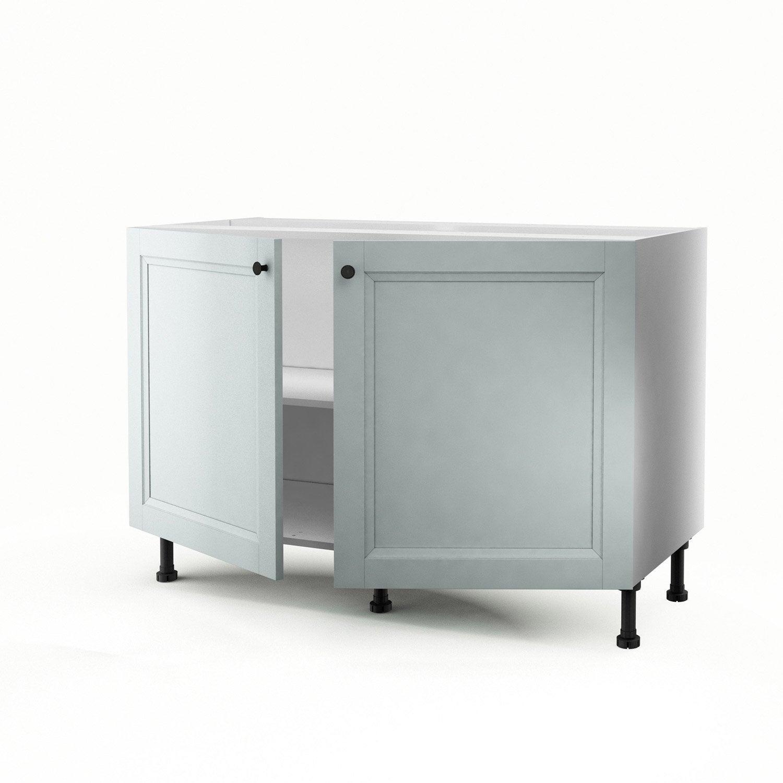 Meuble de cuisine sous vier bleu 2 portes ashford - Meuble sous pente leroy merlin ...