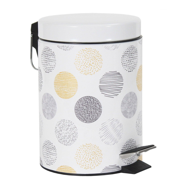poubelle de salle de bains 3 l gris et jaune suna leroy merlin. Black Bedroom Furniture Sets. Home Design Ideas