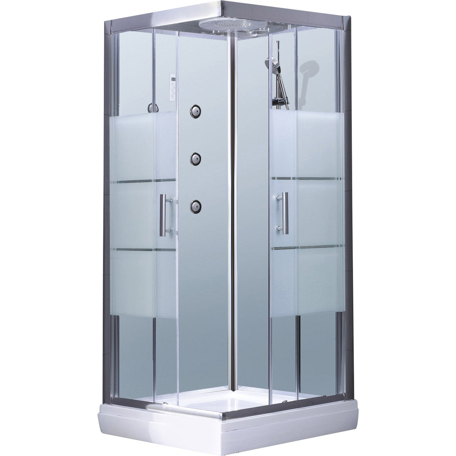 Cabine de douche carr 90x90 cm optima2 blanche leroy for Leroy merlin colonne de douche