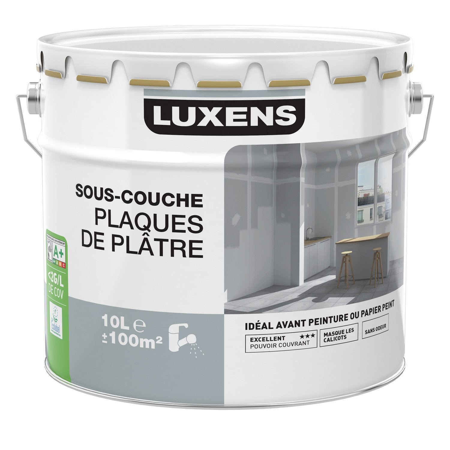 sous couche plaque de pl tre luxens 10 l leroy merlin. Black Bedroom Furniture Sets. Home Design Ideas