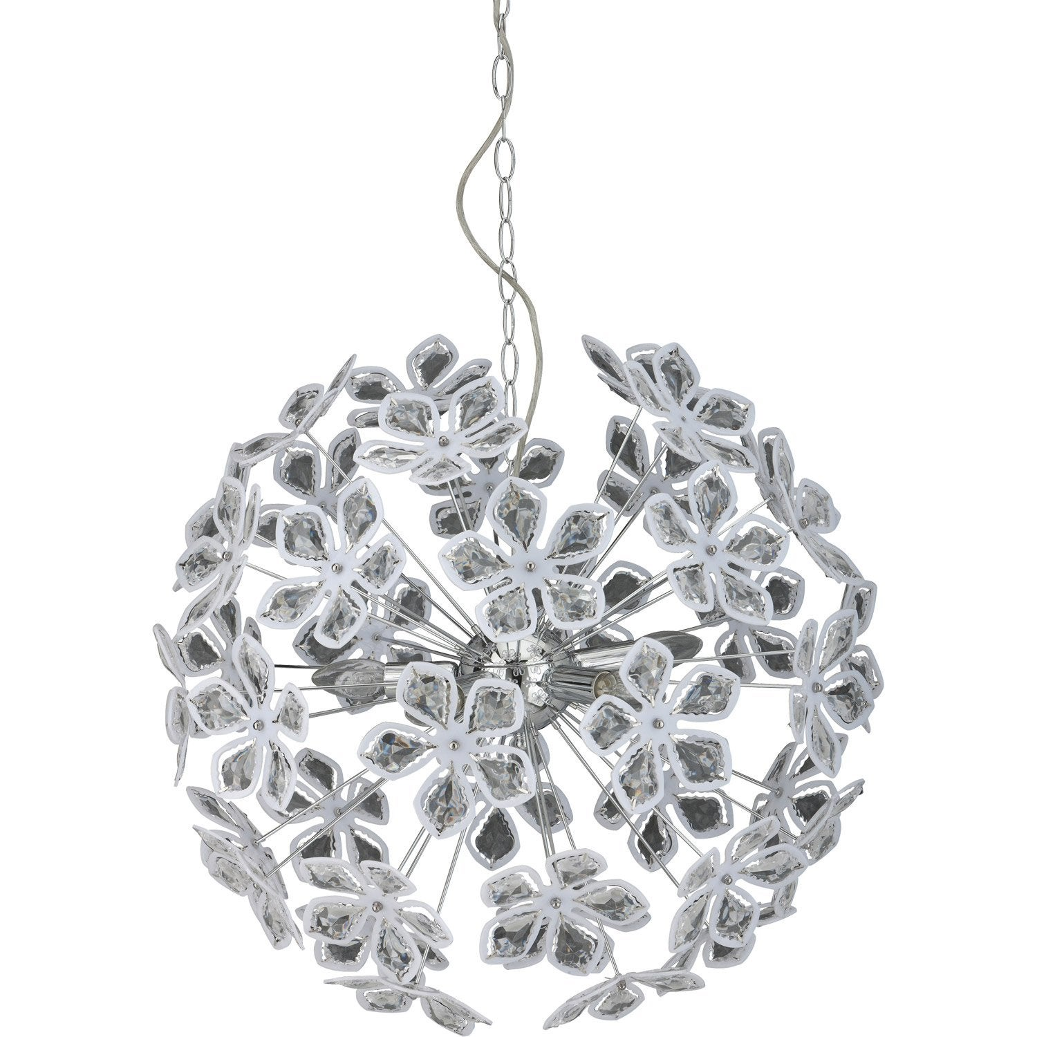 Suspension moderne fleurs m tal chrom 5 x 40 w sampa helios leroy merlin - Suspensions leroy merlin ...