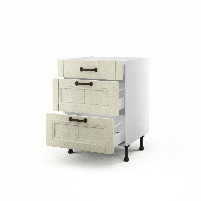 meuble de cuisine bas beige 3 tiroirs tradition x l. Black Bedroom Furniture Sets. Home Design Ideas