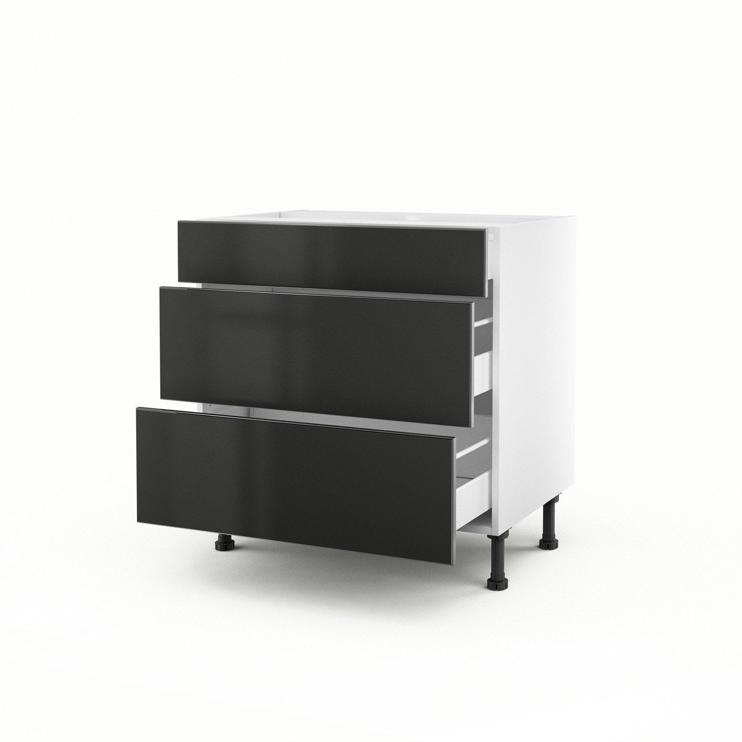meuble de cuisine bas gris 3 tiroirs frost x x cm leroy merlin. Black Bedroom Furniture Sets. Home Design Ideas