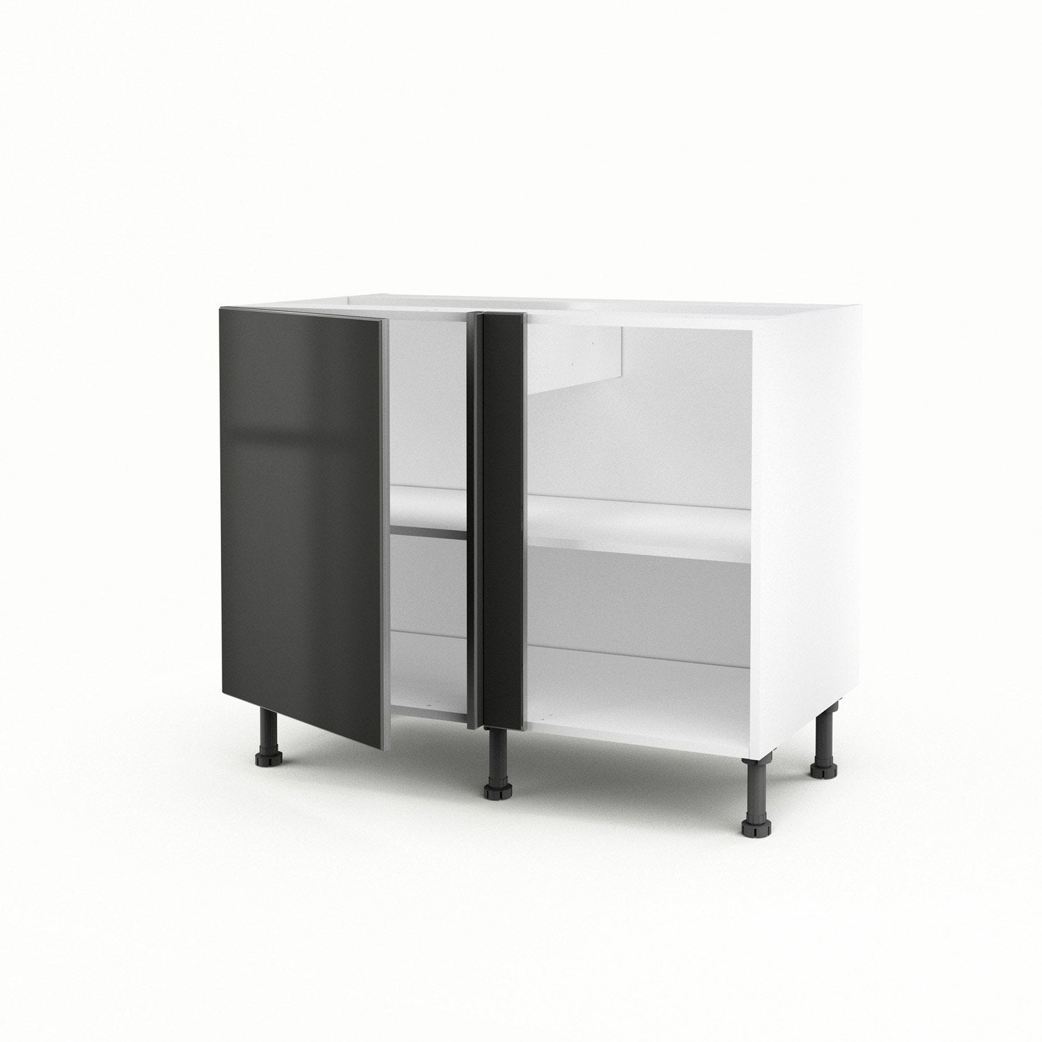 meuble de cuisine bas d 39 angle gris 1 porte frost h70xl100xp56 cm leroy merlin. Black Bedroom Furniture Sets. Home Design Ideas