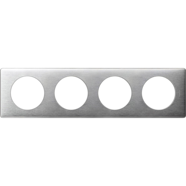 plaque quadruple legrand c liane aluminium leroy merlin. Black Bedroom Furniture Sets. Home Design Ideas