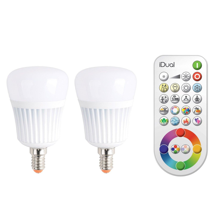 2 ampoules led a changement de couleurs telecommande 7w With carrelage adhesif salle de bain avec ampoule led e14 leroy merlin