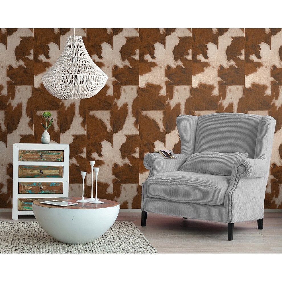 papier peint intiss peau de vache marron fonc leroy merlin. Black Bedroom Furniture Sets. Home Design Ideas