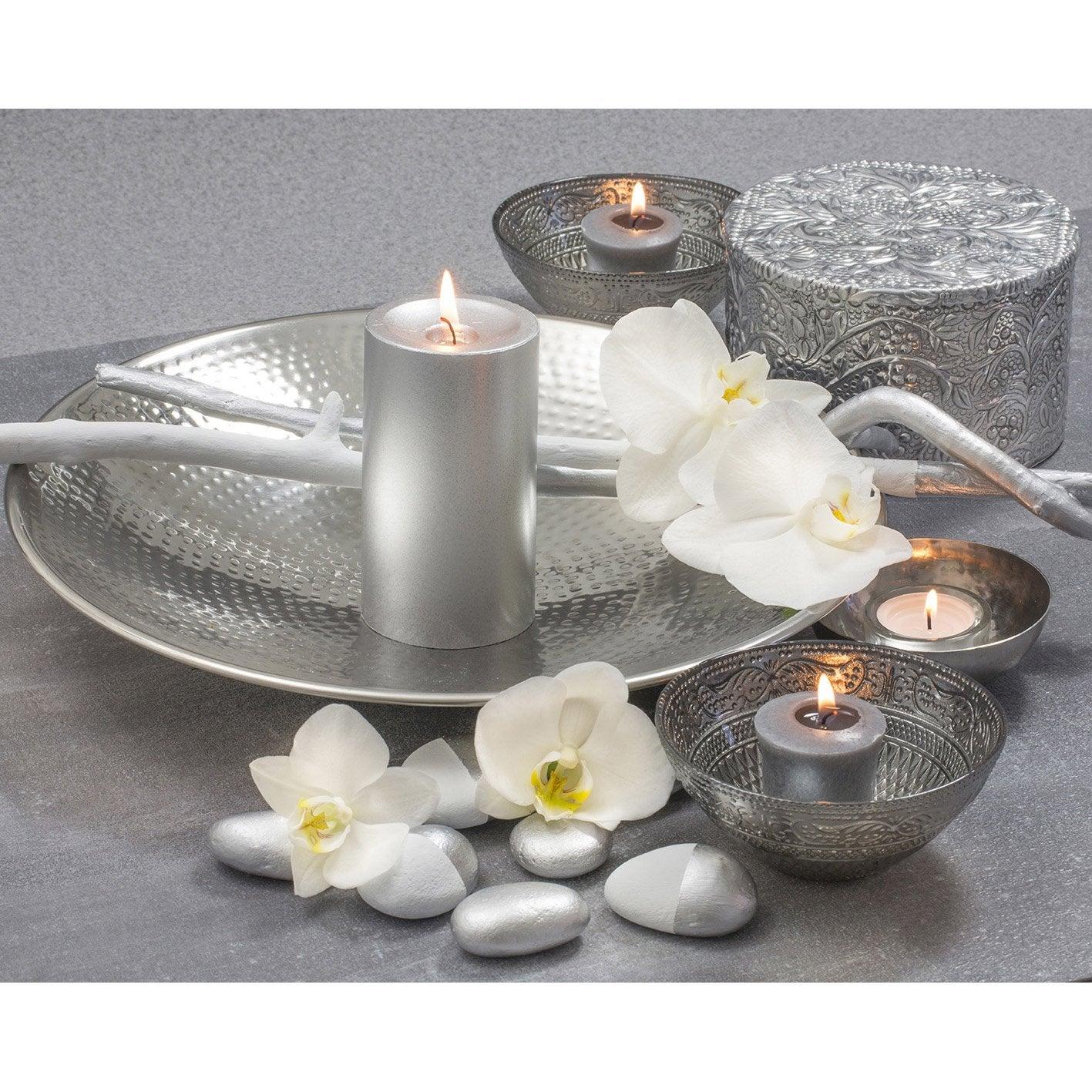 toile led bougies et coupelles silver x cm leroy merlin. Black Bedroom Furniture Sets. Home Design Ideas