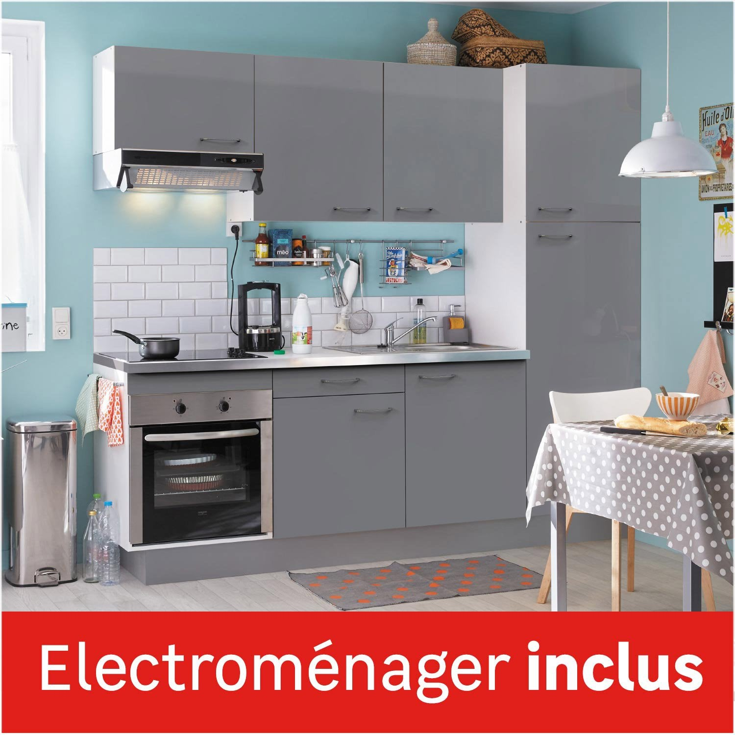 Cuisine quip e gris brillant cm lectrom nager for Cuisine et salon ensemble