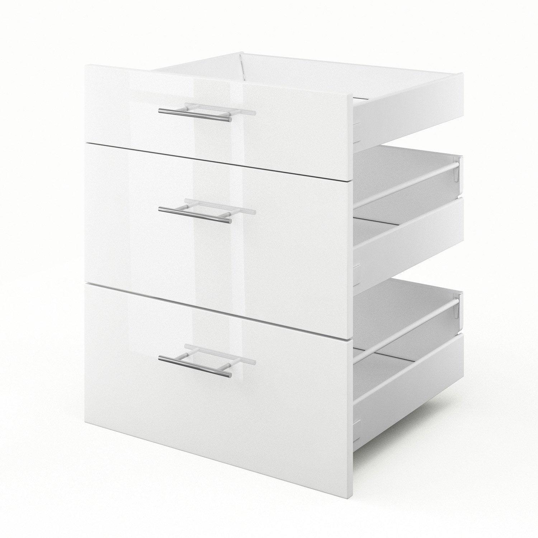 3 tiroirs de cuisine blanc 3d60 rio l60 x h70 x p55 cm leroy merlin - Facade meuble cuisine leroy merlin ...