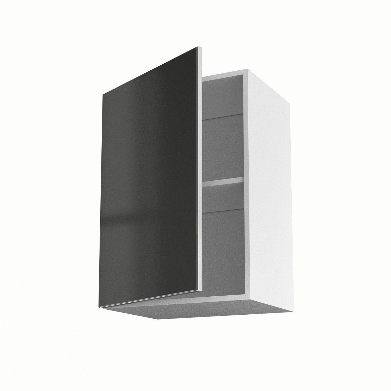 Meuble de cuisine haut gris 1 porte frost h70xl50xp35 cm for Meuble haut cuisine 50 cm