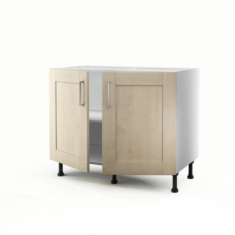 Meuble de cuisine bas blanc 2 portes ines x x p - Meuble bas cuisine 100 cm ...