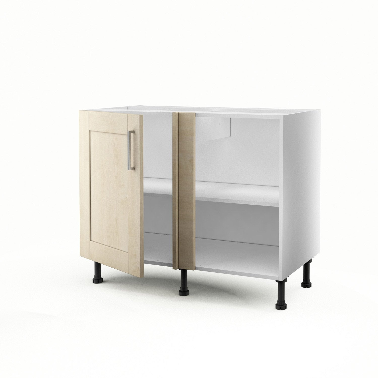 meuble de cuisine bas d 39 angle blanc 1 porte ines. Black Bedroom Furniture Sets. Home Design Ideas