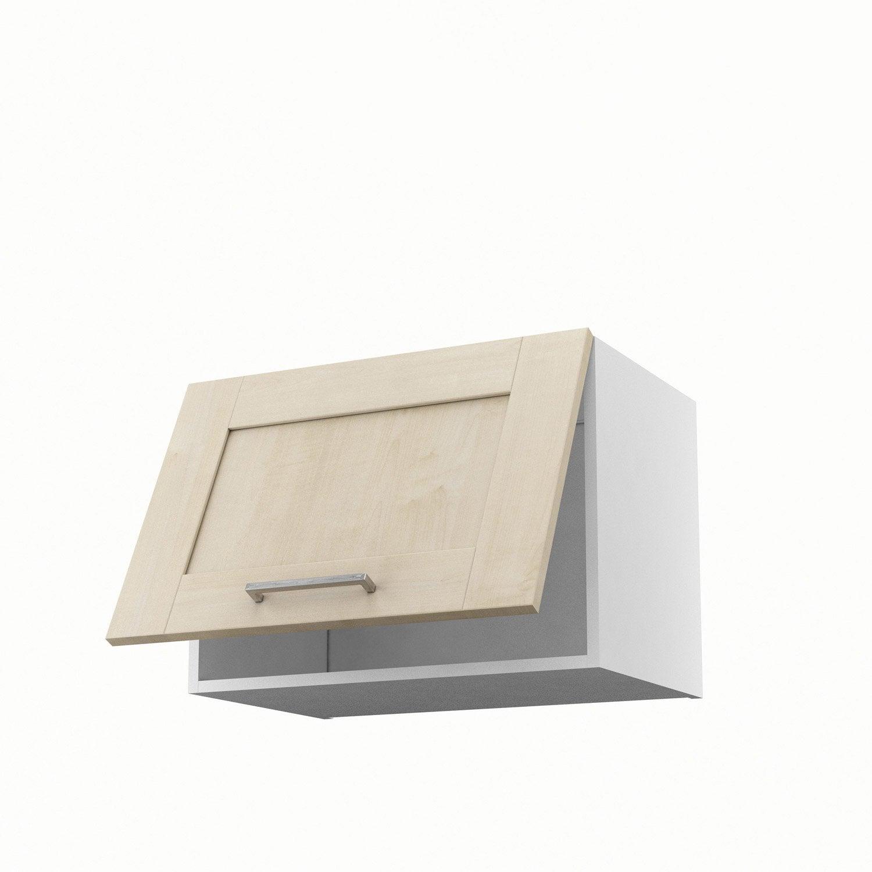 meuble de cuisine haut sur hotte blanc 1 porte ines x x cm leroy merlin. Black Bedroom Furniture Sets. Home Design Ideas