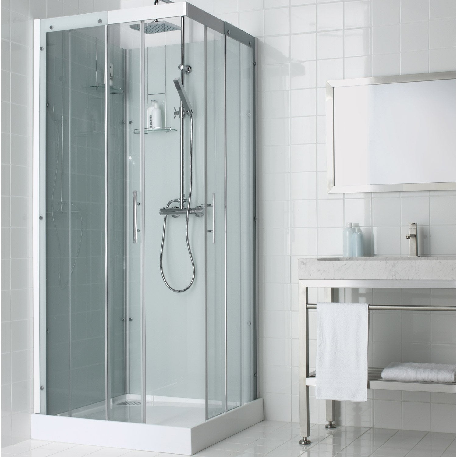 cabine de douche carr 90x90 cm thalaglass 2 thermo leroy merlin. Black Bedroom Furniture Sets. Home Design Ideas