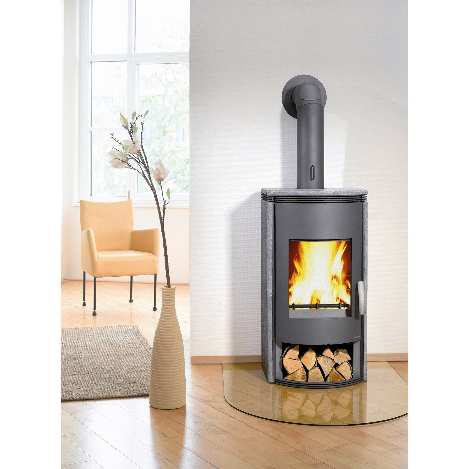 Po le bois wamsler wega anthracite pierre ollaire 8 kw for Leroy merlin poele a bois