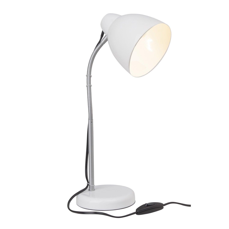 lampe de bureau poser blanc lone brilliant leroy merlin. Black Bedroom Furniture Sets. Home Design Ideas