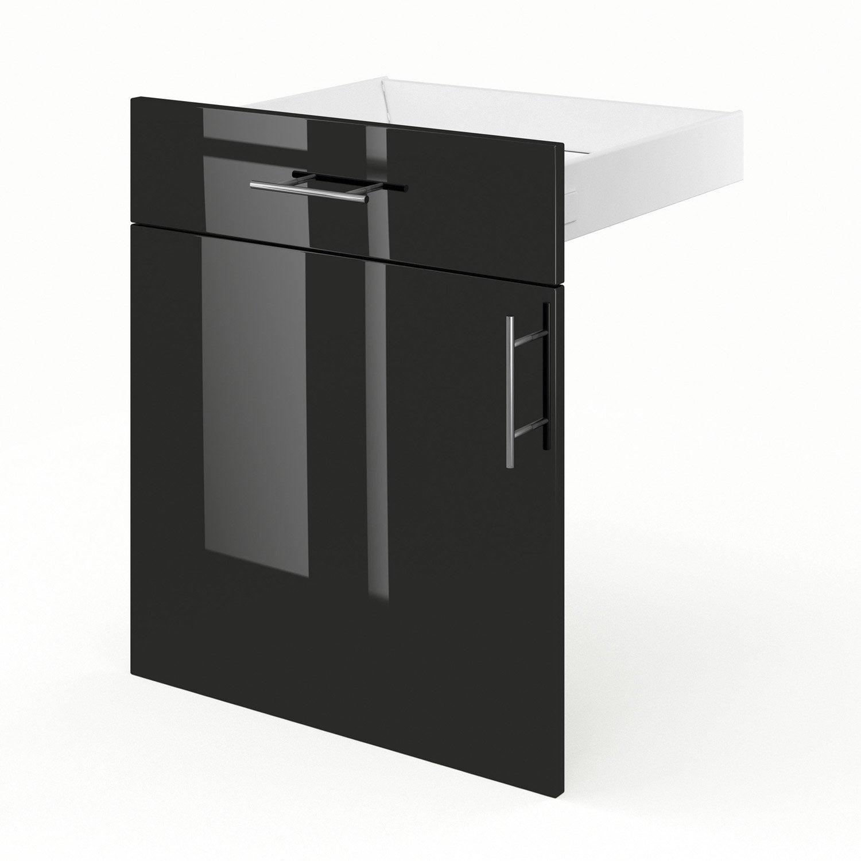 Porte et tiroir de cuisine noir rio x x cm for Porte 60 x 50