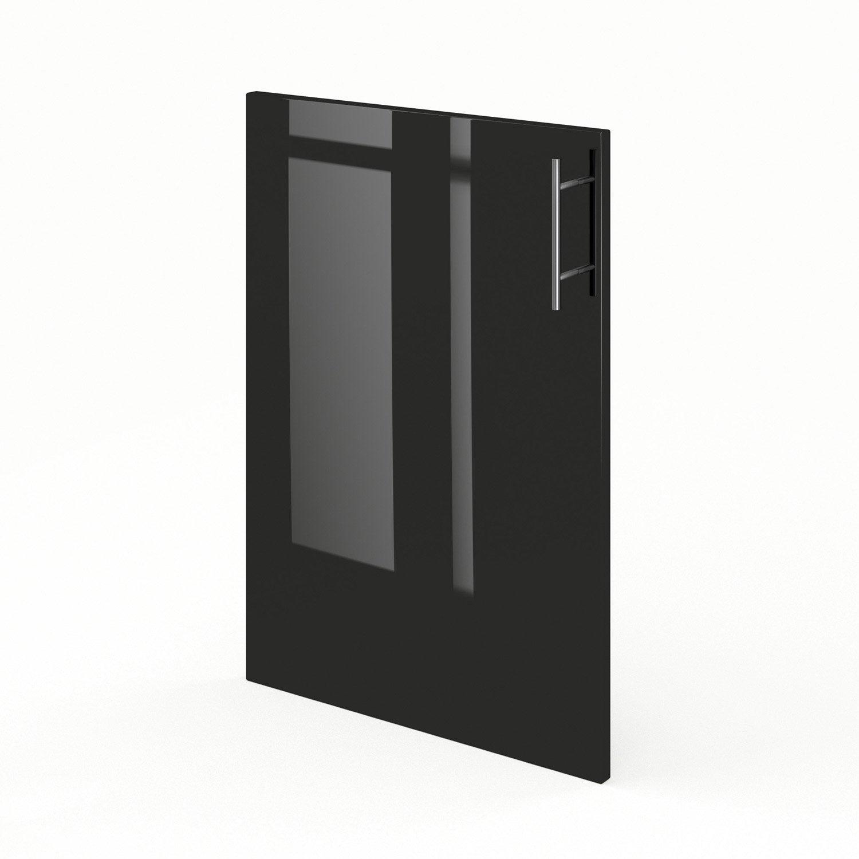 Porte de cuisine noir rio x cm leroy merlin for Porte 70 cm de large