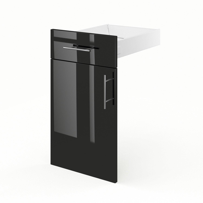Porte et tiroir de cuisine noir rio x x cm for Meuble cuisine 55 cm