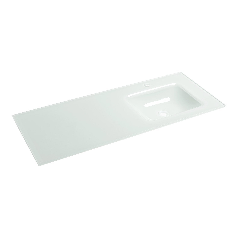 Plan vasque simple ice verre 121 cm leroy merlin for Plan vasque leroy merlin