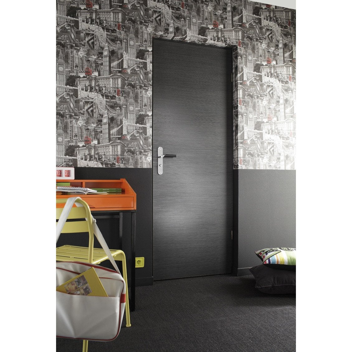 porte sans b ti mdf rev tu d cor ch ne gris londres 204x73cm poussant gauche leroy merlin. Black Bedroom Furniture Sets. Home Design Ideas
