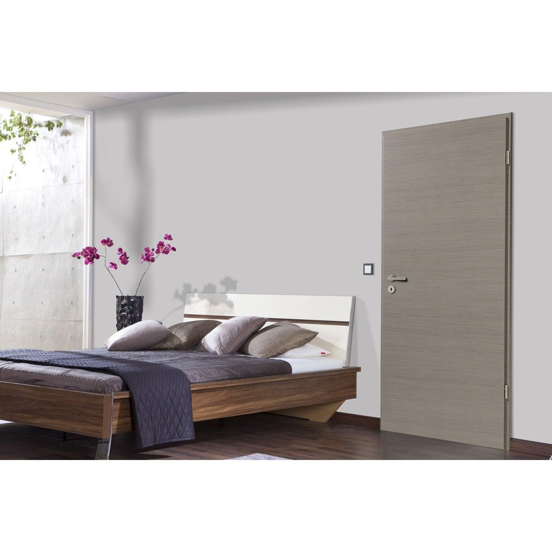 porte sans b ti mdf rev tu d cor ch ne fum londres 204x83cm poussant droit leroy merlin. Black Bedroom Furniture Sets. Home Design Ideas