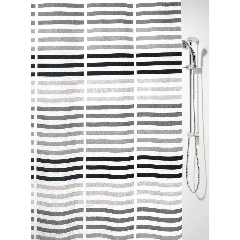 Rideau de douche en textile noir x cm derek for Rideau de douche en tissu