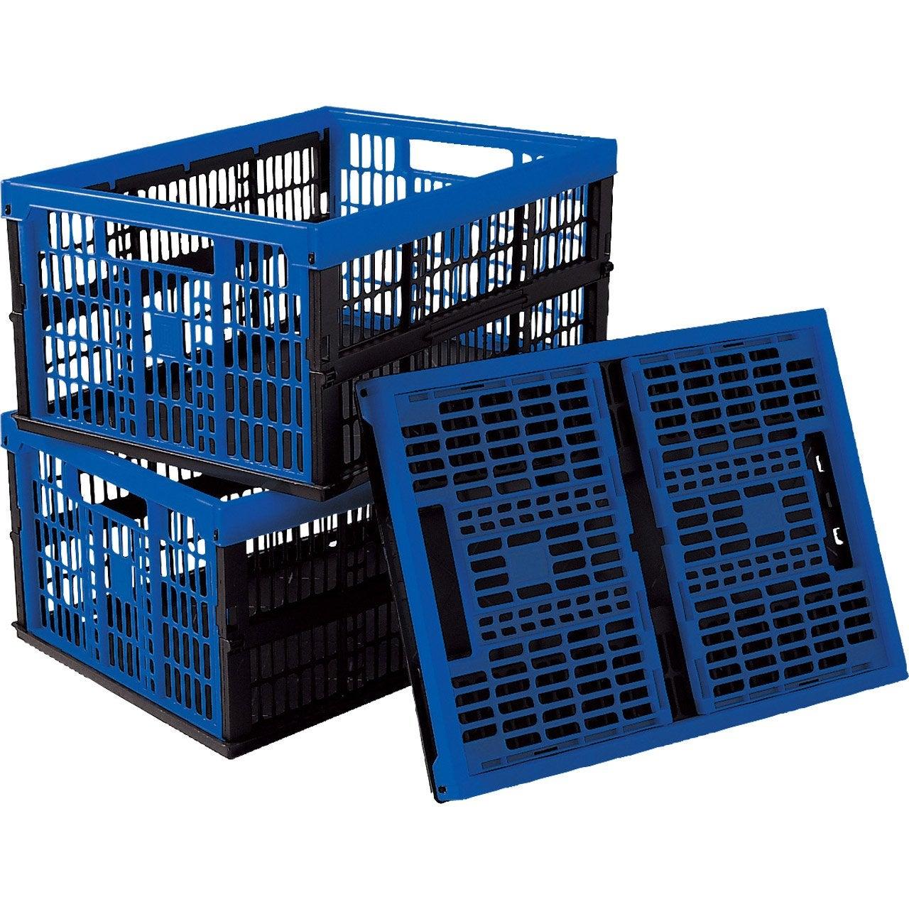 lot de 3 casiers pliables voila en plastique l 35 x p 48 x h 12 cm 32 l leroy merlin. Black Bedroom Furniture Sets. Home Design Ideas