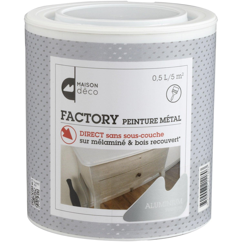 Peinture effet factory maison deco aluminium 0 5l leroy merlin - Peinture effet aluminium ...