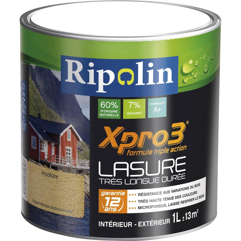 Lasure bois Xpro3 RIPOLIN, blanc, aspect satin, 1 L Leroy Merlin # Lasure Bois Leroy Merlin