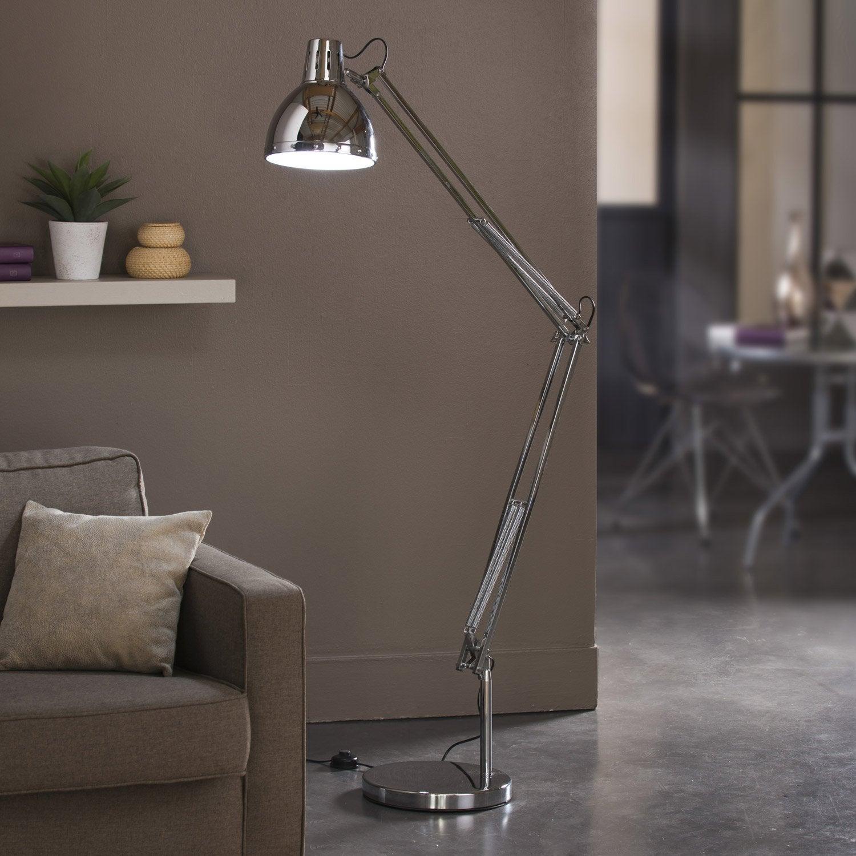 lampadaire cynthia 180 cm chrom 60 w leroy merlin. Black Bedroom Furniture Sets. Home Design Ideas