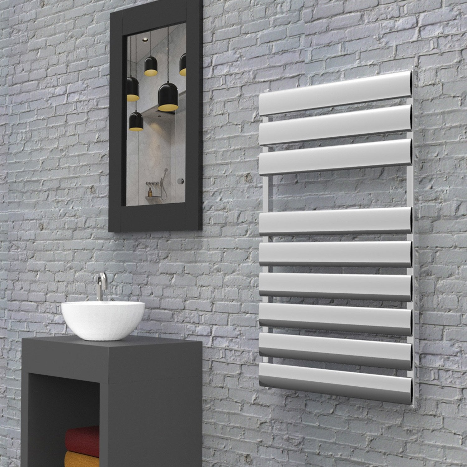 radiateur seche serviette chez leroy merlin chrome. Black Bedroom Furniture Sets. Home Design Ideas